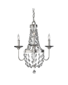 Feiss Malia 3 Light Mini Crystal Chandelier In A Polished Nickel Finish