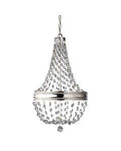 Feiss Malia 6 Light Crystal Pendant Chandelier In A Polished Nickel Finish