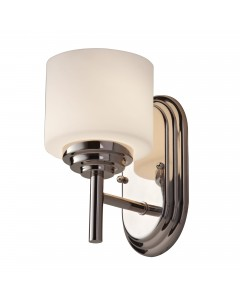 Feiss Malibu 1 Light Bathroom Wall Light In Polished Chrome Finish With Opal Glass Shade (IP44)