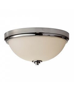 Feiss Malibu 2 Light Bathroom Flush Mounted Ceiling Light In Polished Chrome Finish (IP44)