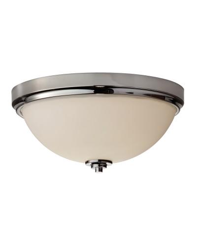 Feiss Malibu 2 Light Bathroom Flush Mounted Ceiling Light In Polished Chrome Finish (IP44)