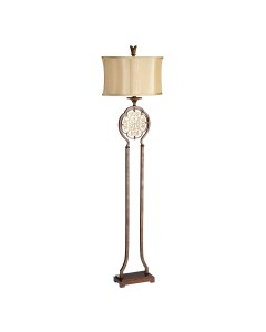 Feiss Marcella 1 Light Floor Lamp In Bronze Finish With Oval Light Gold Fabric Shade
