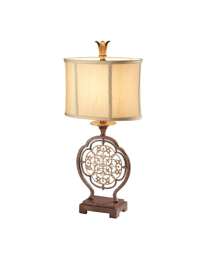 Feiss Marcella 1 Light Table Lamp In Bronze Finish With Oval Light Gold Fabric Shade