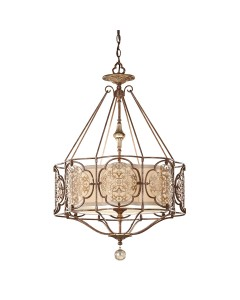 Feiss Marcella 3 Light Pendant In Bronze Finish With Beige Fabric Shade
