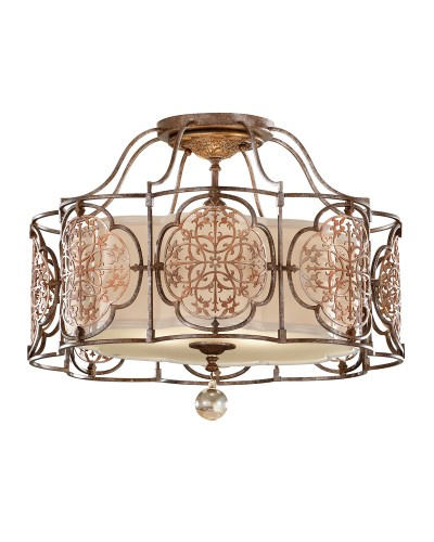 Feiss Marcella 3 Light Semi-Flush Ceiling Light In Bronze Finish With Beige Fabric Shade