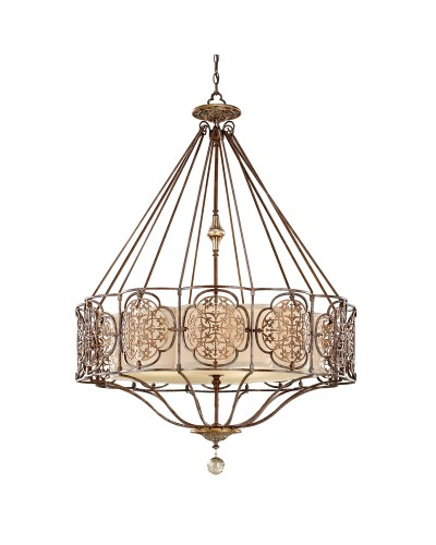 Feiss Marcella 4 Light Large Pendant In Bronze Finish With Beige Fabric Shade