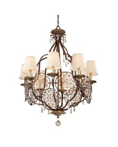 Feiss Marcella 8 Light Chandelier In Bronze Finish With Beige Fabric Shades