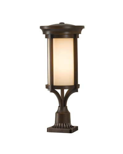 Feiss Merrill 1 Light Outdoor Small Pedestal In Heritage Bronze Finish