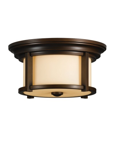 Feiss Merrill 2 Light Outdoor Flush Ceiling Mount In Heritage Bronze Finish