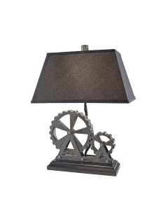 Feiss Old Industrial 1 Light Table Lamp In Midnight Pearl Finish With Black Linen Shade
