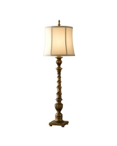 Feiss Park Ridge 1 Light Table Lamp In Silver Leaf Sienna Finish With Biscuit Shantung Fabric Shade
