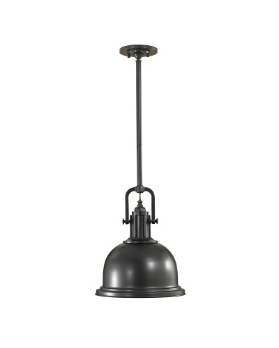 Feiss Parker Place 1 Light Medium Pendant In Dark Bronze Finish With 3 Height Adjustable Rods