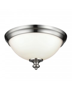 Feiss Parkman 2 Light Flush Mounted Ceiling Light In Brushed Steel Finish