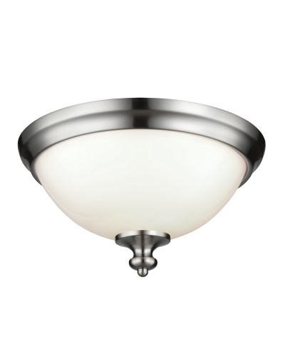 Feiss Parkman 2 Light Flush Mounted Ceiling Light In Brushed Steel Finish