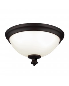 Feiss Parkman 2 Light Flush Mounted Ceiling Light In Oil Rubbed Bronze Finish