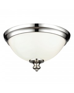 Feiss Parkman 2 Light Flush Mounted Ceiling Light In Polished Nickel Finish