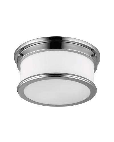 Feiss Payne 2 Light Bathroom Flush Mounted Ceiling Light In Polished Chrome Finish (IP44)