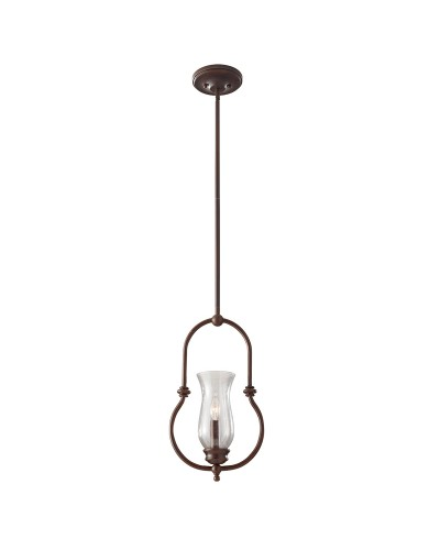 Feiss Pickering Lane 1 Light Pendant In Heritage Bronze Finish With Storm Glass Shade & Height Adjustable Rods