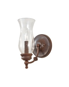 Feiss Pickering Lane 1 Light Wall Light In Heritage Bronze Finish With Storm Glass Shade