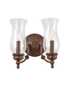 Feiss Pickering Lane 2 Light Wall Light In Heritage Bronze Finish With Storm Glass Shades