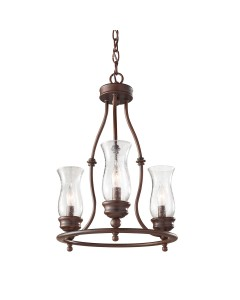 Feiss Pickering Lane 3 Light Chandelier In Heritage Bronze Finish With Storm Glass Shades