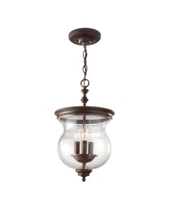 Feiss Pickering Lane 3 Light Duo-Mount Pendant In Heritage Bronze Finish