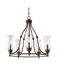 Feiss Pickering Lane 5 Light Chandelier In Heritage Bronze Finish With Storm Glass Shades