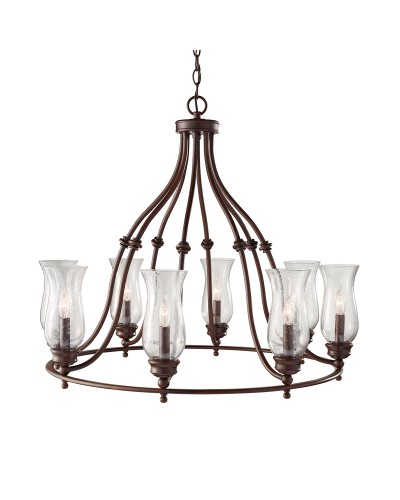 Feiss Pickering Lane 8 Light Chandelier In Heritage Bronze Finish With Storm Glass Shades