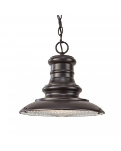 Feiss Redding Station 1 Light Outdoor Medium Chain Lantern In Restoration Bronze Finish