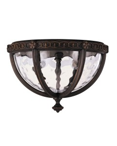 Feiss Regent Court 2 Light Outdoor Flush Ceiling Light In Walnut Finish
