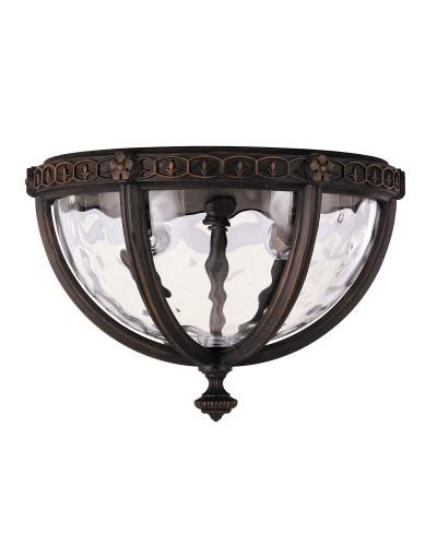 Feiss Regent Court 2 Light Outdoor Flush Ceiling Light In Walnut Finish