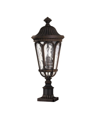 Feiss Regent Court 2 Light Outdoor Pedestal Lantern In Walnut Finish