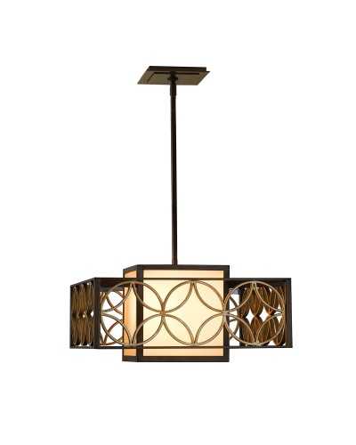 Feiss Remy 1 Light Pendant In Heritage Bronze And Parisienne Gold Finish With Height Adjustable Rods