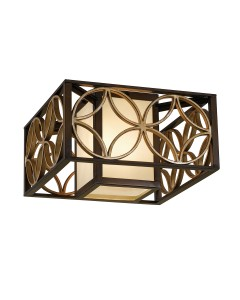 Feiss Remy 2 Light Flush Ceiling Light In Heritage Bronze And Parisienne Gold Finish
