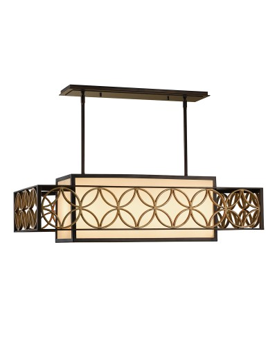 Feiss Remy 4 Light Pendant In Heritage Bronze And Parisienne Gold Finish With Height Adjustable Rods