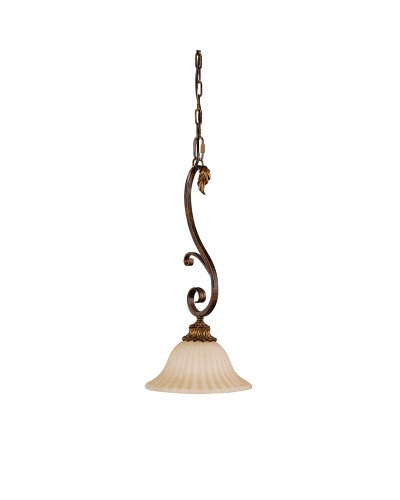 Feiss Sonoma Valley 1 Light Mini Pendant In Aged Tortoise Shell Finish With Creamy Glass Shade
