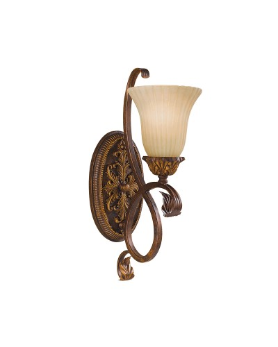 Feiss Sonoma Valley 1 Light Wall Light  In Aged Tortoise Shell Finish With Creamy Glass Shade