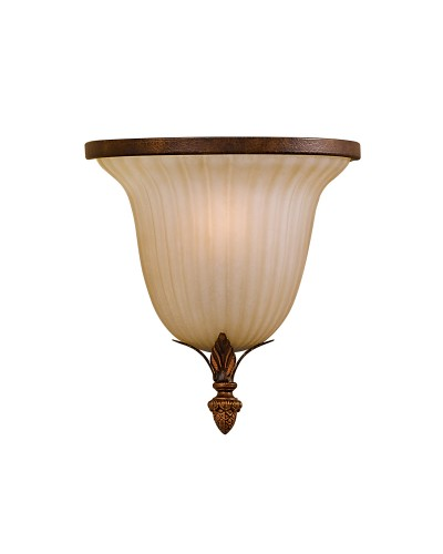 Feiss Sonoma Valley 1 Light Wall Uplighter In Aged Tortoise Shell Finish With Creamy Glass