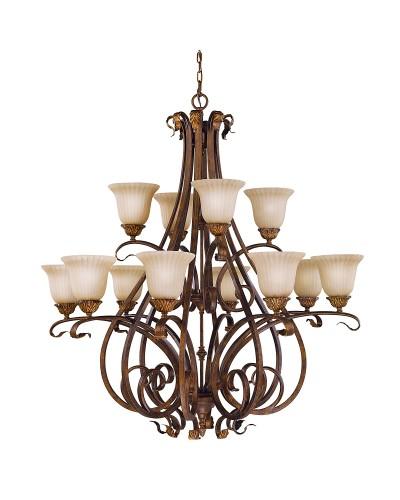 Feiss Sonoma Valley 12 Light Chandelier In Aged Tortoise Shell Finish With Creamy Glass Shades