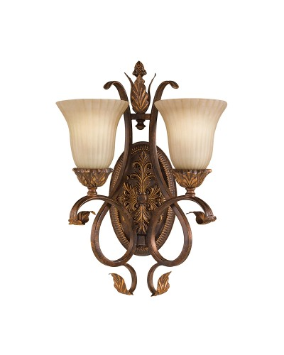 Feiss Sonoma Valley 2 Light Wall Light  In Aged Tortoise Shell Finish With Creamy Glass Shades