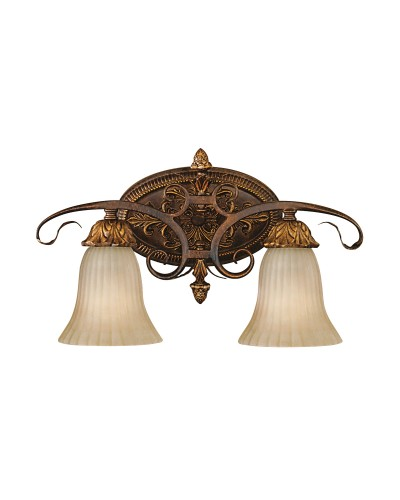 Feiss Sonoma Valley 2 Light Wall Light (Uplight OR Downlight) In Aged Tortoise Shell Finish With Creamy Glass Shades