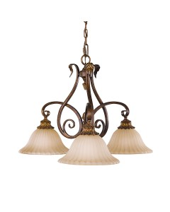 Feiss Sonoma Valley 3 Light Downlight Chandelier In Aged Tortoise Shell Finish With Creamy Glass Shades