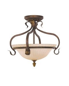 Feiss Sonoma Valley 3 Light Semi-Flush Ceiling Light In Aged Tortoise Shell Finish With Creamy Glass Shade