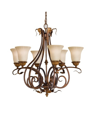 Feiss Sonoma Valley 6 Light Chandelier In Aged Tortoise Shell Finish With Creamy Glass Shades