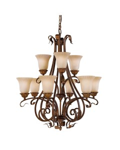 Feiss Sonoma Valley 9 Light Chandelier In Aged Tortoise Shell Finish With Creamy Glass Shades
