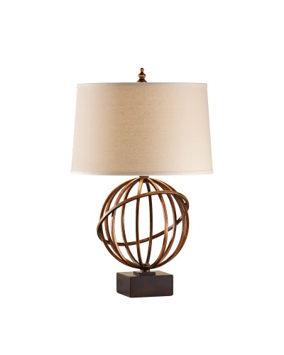 Feiss Spencer 1 Light Table Lamp In Firenze Gold Finish With Dark Tan Linen Shade