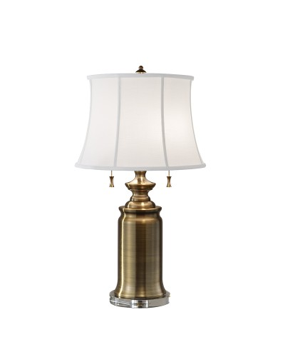 Feiss Stateroom 2 Light Table Lamp In Bali Brass Finish With White Cotton Linen Shade