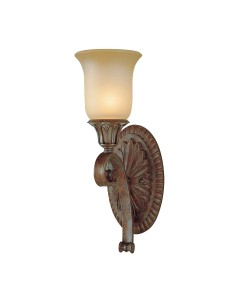 Feiss Stirling Castle 1 Light Wall Light In British Bronze Finish With Excavation Glass Shade