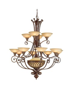 Feiss Stirling Castle 12 + 1 Light Chandelier In British Bronze Finish With Excavation Glass Shades
