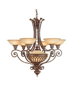 Feiss Stirling Castle 6 + 1 Light Chandelier In British Bronze Finish With Excavation Glass Shades